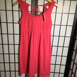 Ann Taylor LOFT pink tie ruffle dress